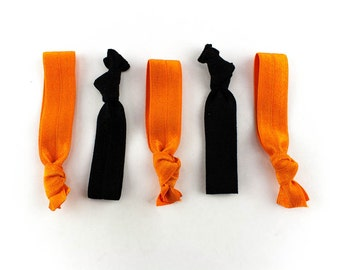 Halloween Orange and Black Hair Tie Set - 5 Rhinestone and Elastic Hair Ties that Double as Bracelets