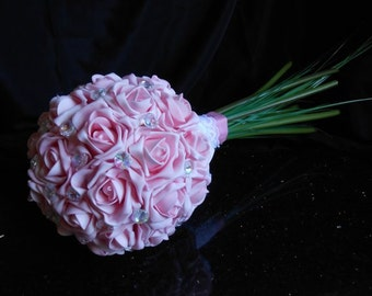 Artificial wedding posy bouquet - roses - unique design of pink roses and genuine Swarovski AB Crystals and a pure silk, lace & pearl holder