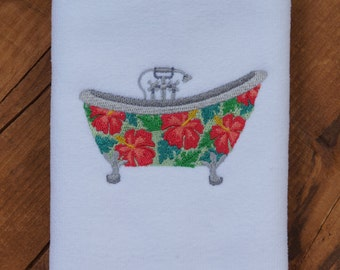Whimsical Bathtub - Fingertip Towel with Embroidered Hibiscus Bathtub