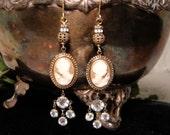 Vintage Assemblage Earrings Cameo and Rhinestone Chandelier Earrings Upcycled Dangle Earrings Edwardian Steampunk Earrings