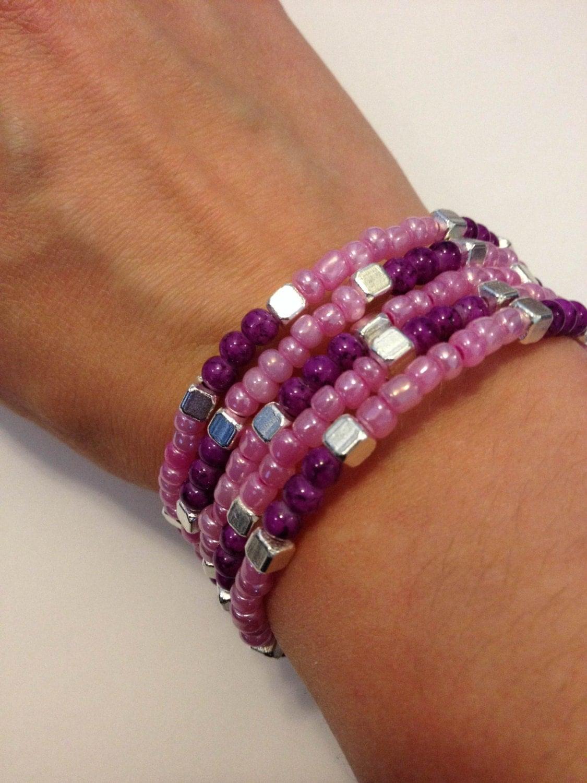 glass bead bracelet glass memory wire wrap bracelet