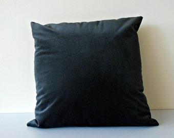 Charcoal Velvet Pillow Cover - charcoal velvet cushion - dark grey velvet décor pillow - grey velvet throw pillow