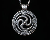 Slavic Serpent Amulet Pendant, silver-plated brass, two-sided, handmade