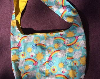 Peace, Love, Sunshine and Rainbows Reversible Hobo Shoulder Bag / Tote