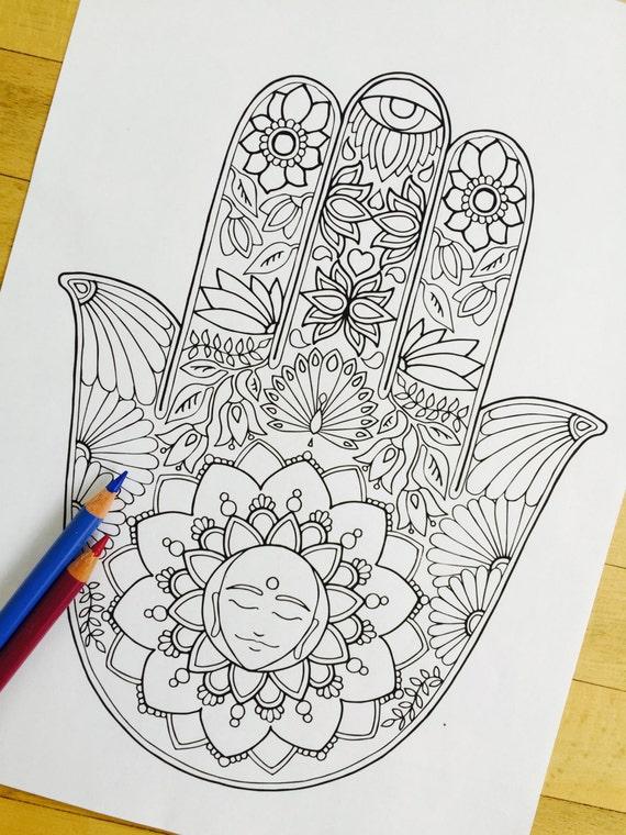 Hamsa Meditation Hand Drawn Adult Coloring Page Print