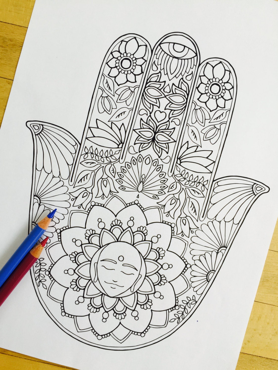 hamsa tree of life hand drawn coloring page print