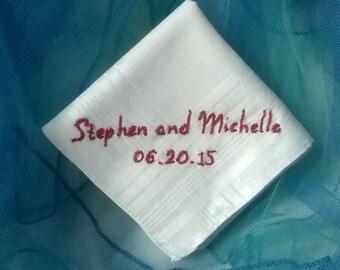 Groom Hand Embroidered Handkerchief, Wedding Gift