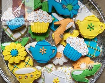 Tea party theme sugar cookies (1 dozen)