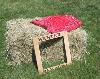 "Wood burned lettering ""WANTED"" Photo prop (can fit 2 faces inside for a Western Party theme)"