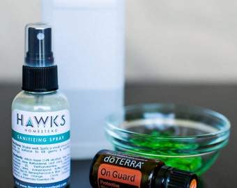 Hand Sanitizing Spray - All Natural, Antibacterial (2 oz)