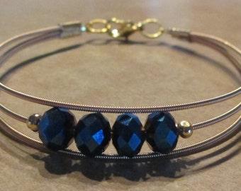 Midnight Blue Crystal 3 String Guitar String Bracelet