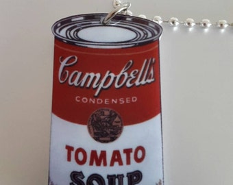Pop Art Style Tomato Soup Necklace Andy Warhol inspired