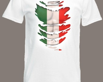 Italian Flag T-Shirt see Muscles through Ripped T-Shirt Italy in all sizes