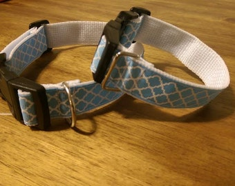 Blue abstract design dog collar
