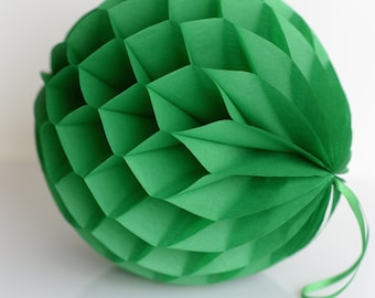 Kelly green Tissue paper honeycombs -  hanging wedding party decorations