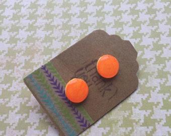 Hand-painted Earring - Neon Orange