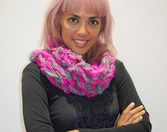 Neon Dreaming Mini Pink and Grey Acrylic Cowl