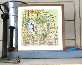 Garden -Father's Day Card-Gardening- Garden Shed-Vegetable plot- Hand Illustrated - Greeting Card----code FD11