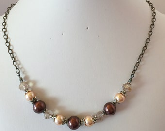 Brown Antique Style Bridal Necklace Champagne Pearl Chocolate Brown Pearl Wedding Set Bridesmaid Gift Antique Silver Crystal Necklace