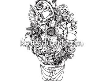 potted flower designs - coloring page