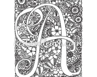 instant digital download coloring page letter a with flower designs - Letter A Coloring Pages