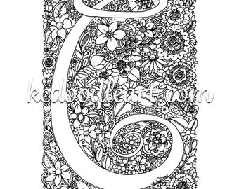 instant digital download - adult coloring page - letter C with flower designs