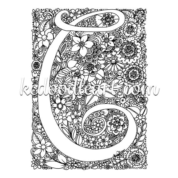 Instant digital download adult coloring page letter c with for Coloring pages for the letter c