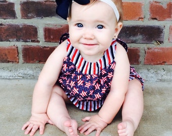Baby Girls July 4th Dress with Ruffle Bloomers