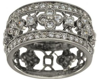 Diamond Wedding Band Filigree Wedding Band Eternity Band Anniversary Ring 14K