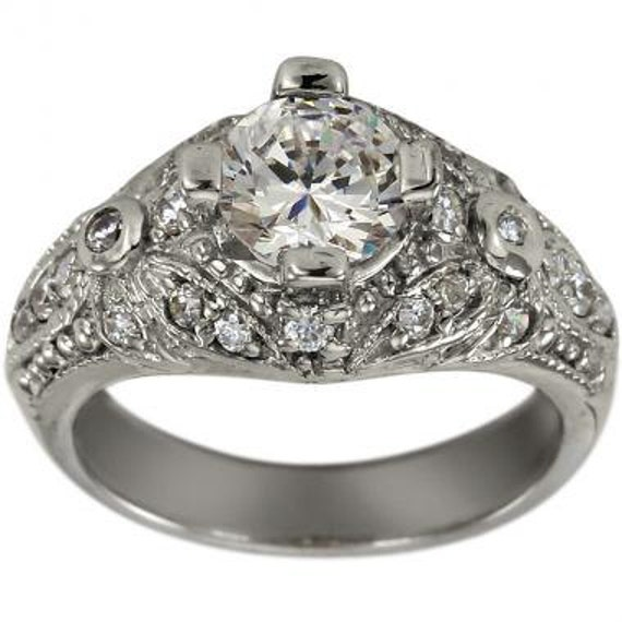deco jewelry 1 carat engagement ring with milgrain