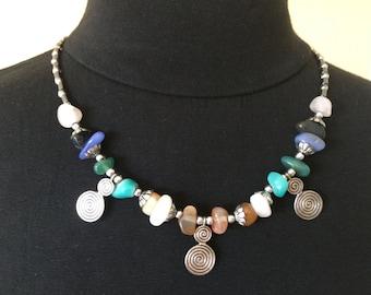 Handmade Necklace  Opal Necklace  White Stone Collar  Blue Stone Collar  Orange Stone Collar  Opal Jewellery  Handmade Jewellery