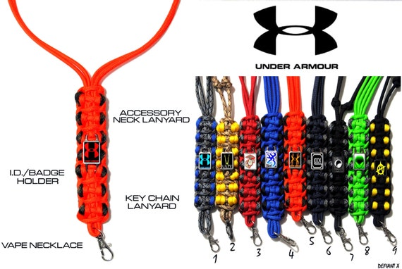 under armour lanyard. items similar to under armour ~ accessory neck lanyard - key chain ***color \u0026 logo options*** i.d. / badge holder * vape necklace on etsy under armour