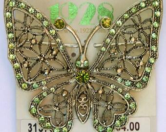 1928 Jewelry Olivine Butterfly Pin/Brooch