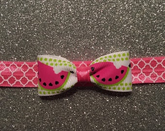 Watermelon Wedge Mini Bow Headband