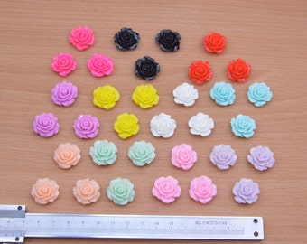 Flower Cabochons round plastic flower small flower Resin Flowers 30pcs color mixing resin Rose flower charms 18mm