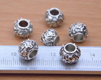 25pcs 10mm small antique silver tube beads with flowers design on it findings.round metal beads with big holes supply,metal beads wholesale.