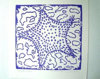 HORSE STAR Print - 6x6. Purple. Linoleum Prints Block Cuts Hand Printed Beach Cottage Art Linocut Starfish Print Block Prints Handmade Gifts