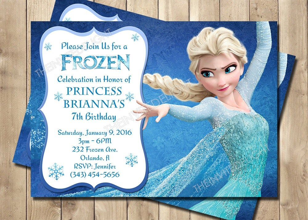Frozen Birthday Invitation Frozen Princess Elsa Invite