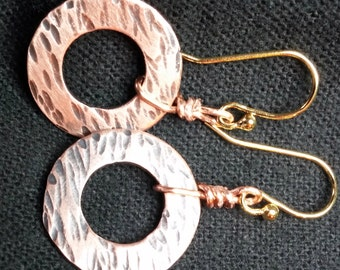 Copper, washer, dangle earrings with 14k gold plate French wires