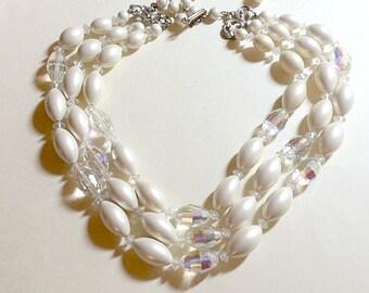 Sale Striking vintage multi strand faux pearl and crystal necklace faux pearl necklace multi strand necklace white necklace 1960s