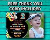 Mickey Mouse Invitation, Mickey Mouse Birthday Invitation, Photo, Free JPEG Thank you Card, Printed//printable//polka dots//2nd birthday