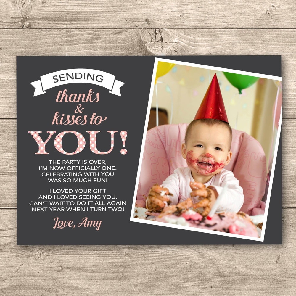 Girls 1st Birthday Thank You Card Digital By InkandCardDesigns