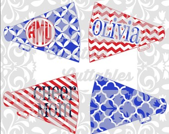 Cheerleading Cheer SVG Megaphones for  Silhouette or other craft cutters (.svg/.dxf/.eps)