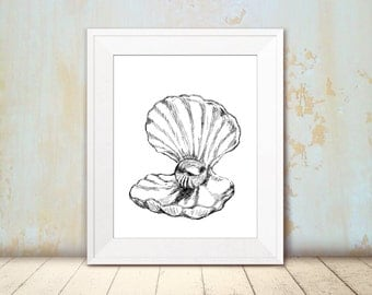Sea shell Illustration - Black and white wall art, Shell print, Nautical wall decor, Art & collectibles, Dorm decor
