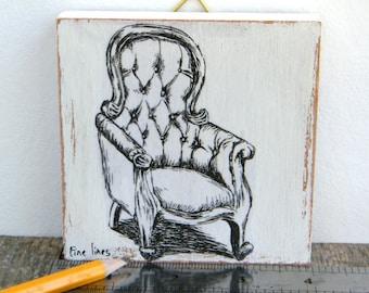Miniature painting - arm chair print, Kitchen decor, print on wood, wall art print, Hipster decor