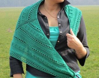 Knitted cotton shawl Green knitted shawl Green wraps shawl Triangular shawl Hand knit shawl Knitted shawl Green Knit Shawl Vegan knit shawl