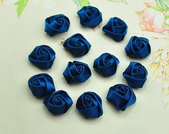 20pcs Military Blue satin fabric rose flowers,wholesale flowers 20x12mm