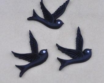 10pcs black resin bird charm finding--25x25mm
