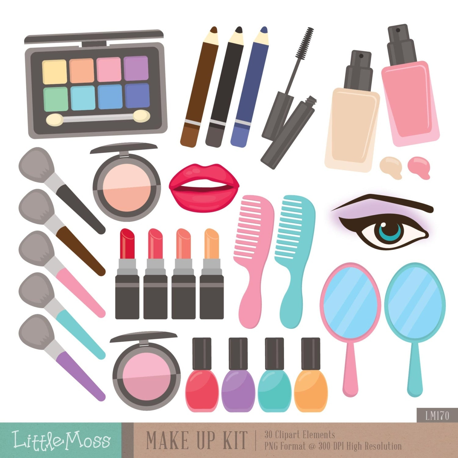 make up kit digital clipart cosmetic clipart