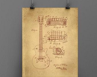 Blueprint, Christmas Gift, Les Paul Art, Patent Art, Patent Printable, Downloadable Art, Vintage Gibson Guitar, Wall Decor, Home Decor